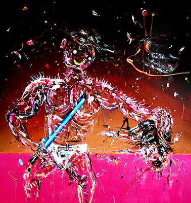 DAVID GEGEN GOLIATH 13.0 SORRY ICH BIN NEU HIER, 2015, mixed media on canvas, 150x140cm