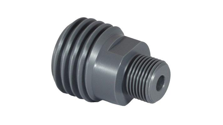 Spezialbauteil für die chemische Abwassertechnik  -- CNC-Drehteil aus Hart-PVC