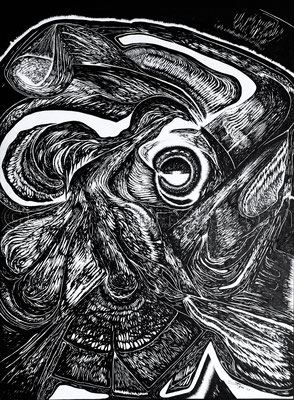 """période de léthargie"", 40 x 30 cm, Tusche auf Papier, 2019"