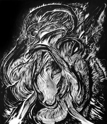 """""""Impetus"""", 70 x 60 cm, Tusche auf Leinen, 2015"""