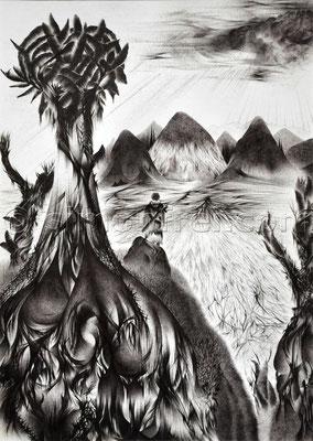 """""""Der Krieger"""", 29.7 x 21 cm, Kugelschreiber auf Papier, 2005"""