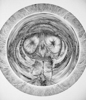 """""""Déjà-Vu"""", Radius 35 cm, Kugelschreiber auf Papier, 2011"""