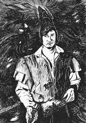 """""""Bruder Leichtfuss"""" (Illustration), 29.7 x 21 cm, Filzstift auf Papier, 2011"""