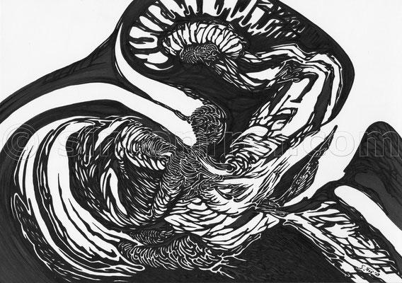 """""""inkognito"""", 21 x 29.7 cm, Permanent Marker auf Papier, 2013"""