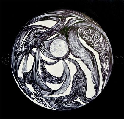 """""""Zum Mond am Fluss"""", 24 cm, Kugelschreiber auf Holz, 2014"""