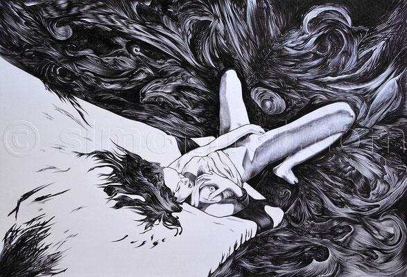 """""""Erotischer Traum"""", 32,5 x 48,5 cm, Kugelschreiber auf Papier, 2013"""