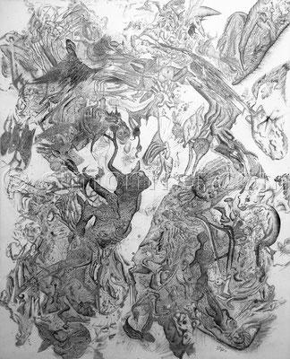 """""""Archaische Reflexion"""", 100 x 80 cm, Permanent Marker auf Leinen, 2011"""