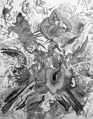 """""""Das Experiment"""", 45 x 35 cm, Tusche auf Leinen, 2011"""