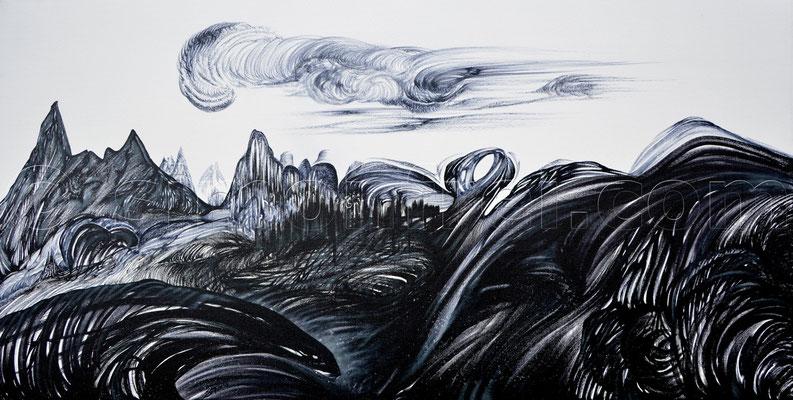 """""""As old as the hills"""", 50 x 100 cm, Mischtechnik auf Leinen, 2013"""