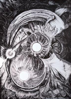 """""""Synthesis"""", 70 x 50 cm, Kugelschreiber auf Papier, 2012"""