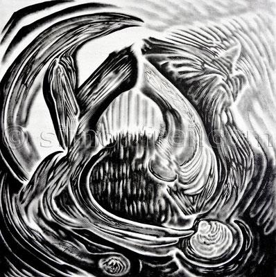 """""""Imaginäres Portal"""", 30× 30cm, Tusche auf Leinen, 2014"""