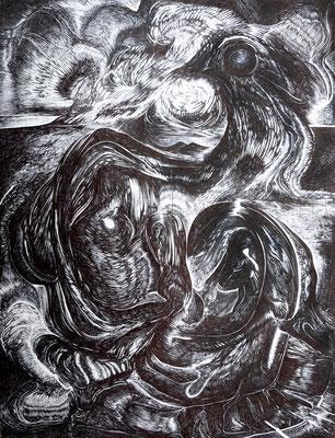 """""""Partus"""", 40 x 30 cm, Kugelschreiber auf Papier, 2017"""
