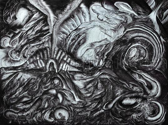 """""""Die Unausweichlichkeit der Zerstörung"""", 56 x 75 cm, Kugelschreiber auf Papier, 2015"""