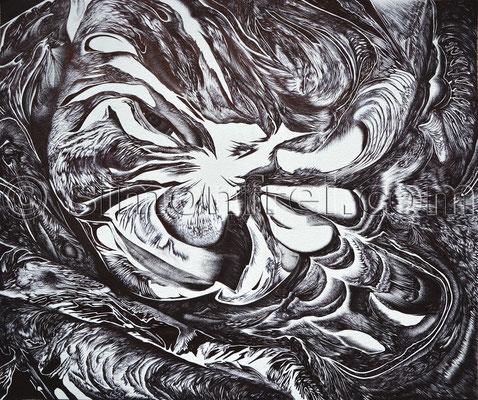 """""""born"""", 51× 61,8cm, Kugelschreiber auf Papier, 2014"""