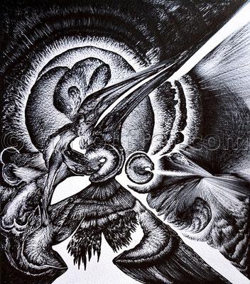 """""""Visionär"""", 50,5 x 44 cm, Permanent Marker auf Papier, 2014"""