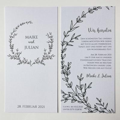 Menükarte Greenery Hochzeit