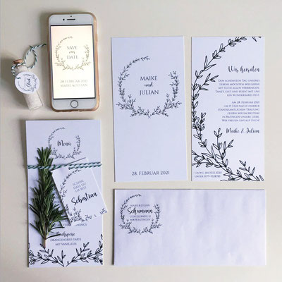 Papeterie Serie Greenery Hochzeit