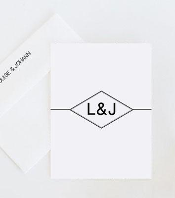 Einladung Initialllogo Hochzeit schwarz weiß