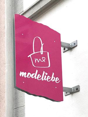 Aussenschild mit Logo für Boutique in Ratingen