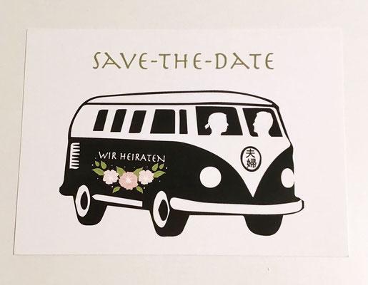 Save the date Karte mit Hochzeit-Logo