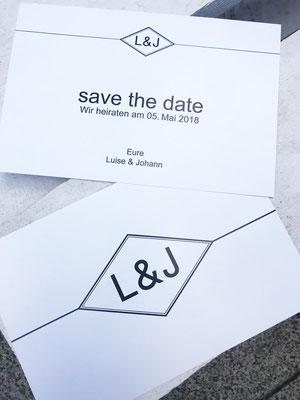 Hochzeitseinladung pur Initial-Logo