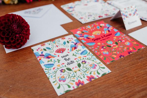 Save the date Karte Folklore Hochzeit