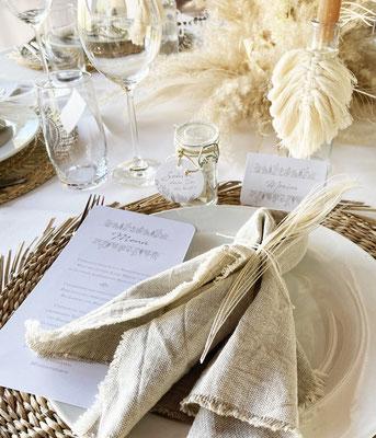 Menükarte Boho Hochzeit