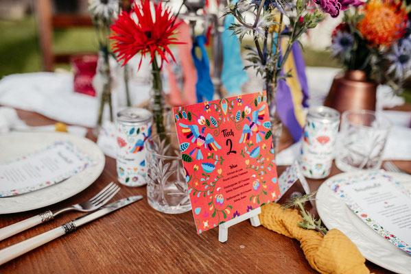 Tischnummernkarte Folklore Hochzeit
