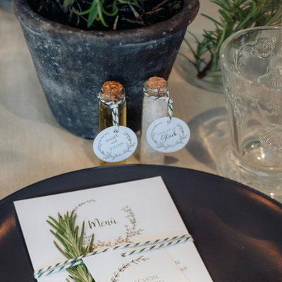 Menükarte und Gastgeschenk Greenery Hochzeit