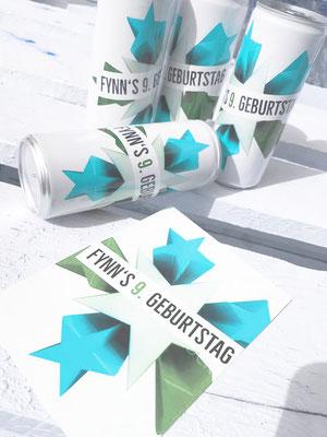 Getränkedose mit dem Design der Einladungskarte Kindergeburtstag
