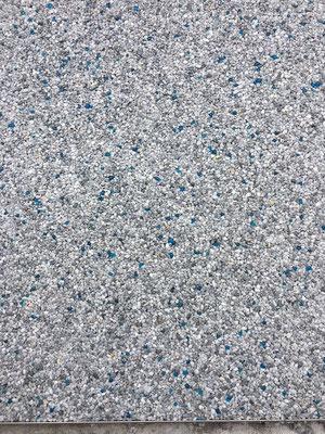 Marmorsteinteppich Grau mit Glas Türkis gerundet