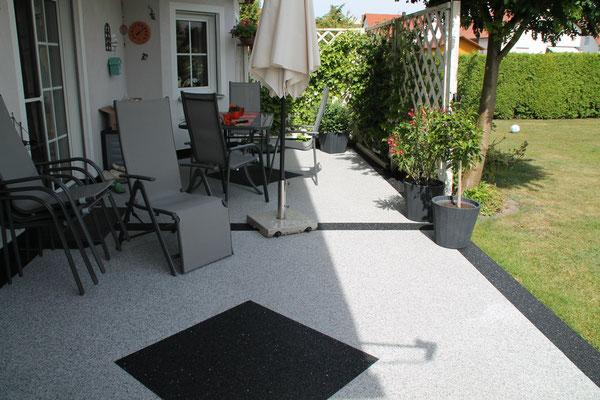 Marmorsteinteppich Grau/Schwarz