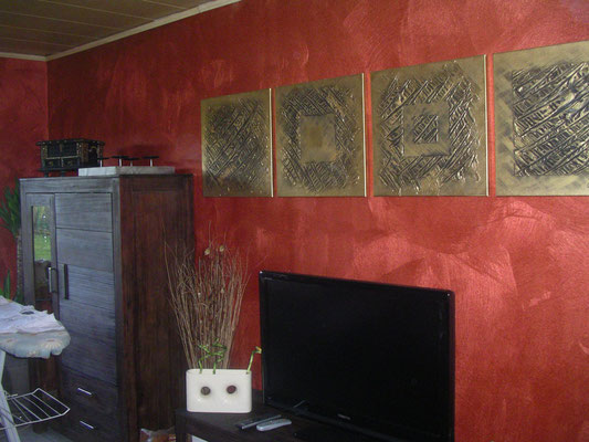 Metallicwandfarbe Rotbraun
