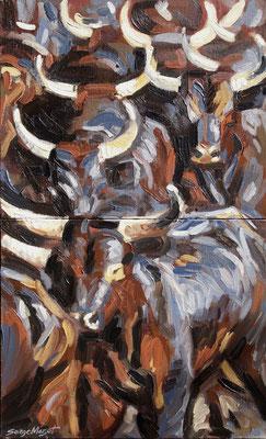 Camarguaises - Chaleur & Poussière - diptyque - Huile sur toile - 65 x 108 cm- 2005