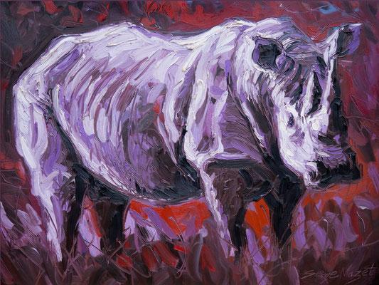 Rhinocéros - Huile sur toile - 130 x 100 cm - 2010