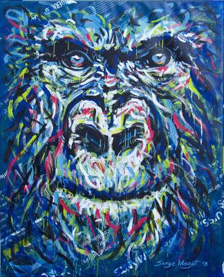 Gorille - acrylique sur bâche industrielle : 135 x 170 cm