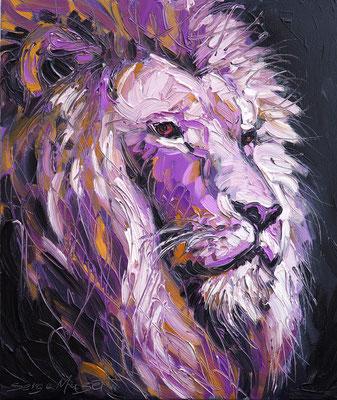 Lion - Huile sur toile - 54 x 65 cm - 2017