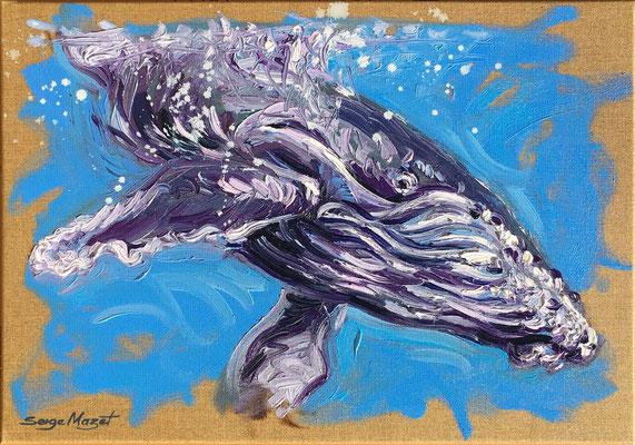 Sous la surface - Huile sur toile Lin naturel - 65 x 46 cm - 2018