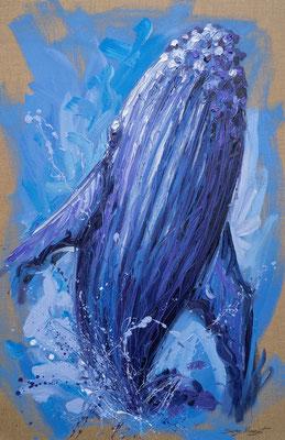 K1- baleine - Huile sur toile brute - 2018 - 60 x 92 cm - Serge Mazet Peintre