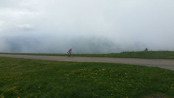 the start to the Belchen with a lot of fog