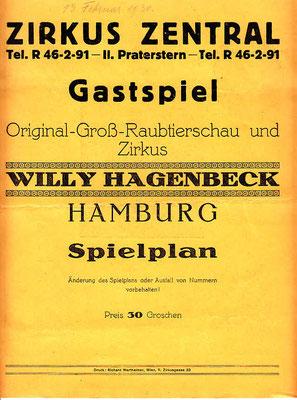 1930 Februar im Circus Zentral - Wien