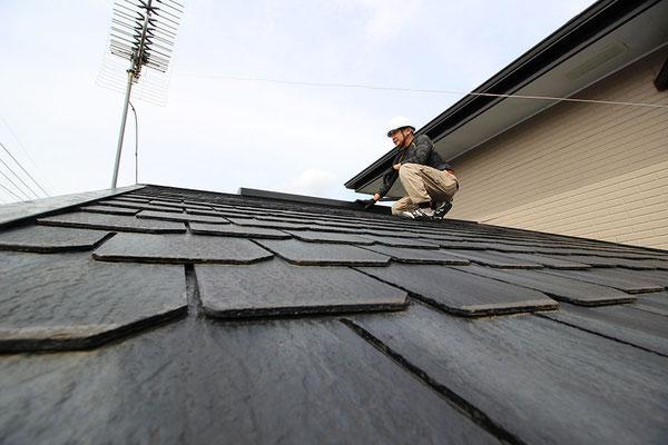 雨漏り屋根調査の様子