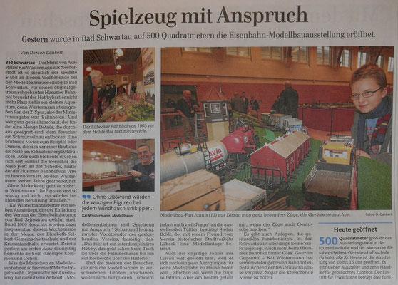 Quelle: Lübecker Nachrichten, Lokalteil Bad Schwartau, 10.1.15