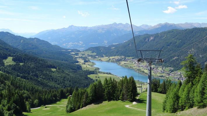 wir fuhren mit der Weissensee Bergbahn