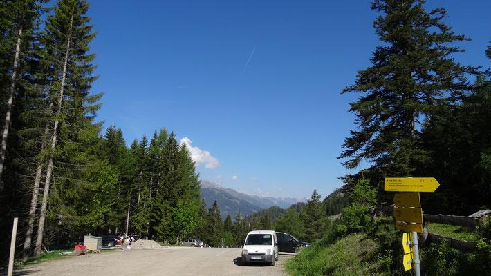 vom Parkplatz Lienzer Dolomitenhütte ging die Tour los