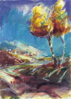 Herbstlandschaft (1996) Mischtechnik 80x60 cm 800,- EUR