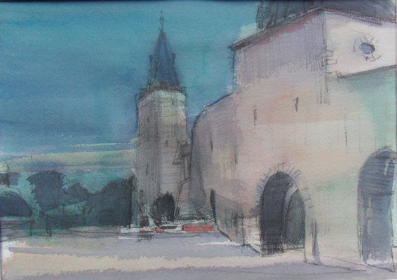 An der Stadtmauer II (2014) Aquarell 600,- Euro