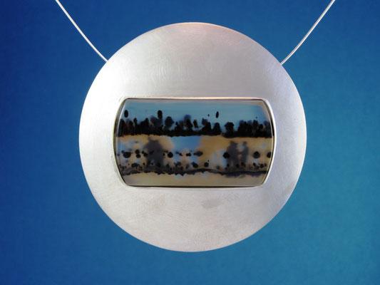 Hinter dem Mond Halsschmuck, Silber / Landschaftsachat 890,- EUR