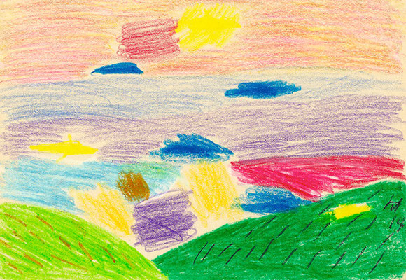 Landscape Seen #1 182 mm x 257 mm crayons 2014 Ⓒ Hanae Tanazawa