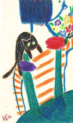 Girl, Cat, Flowers 155 mm x 248 mm  crayons 2014 Ⓒ Hanae Tanazawa
